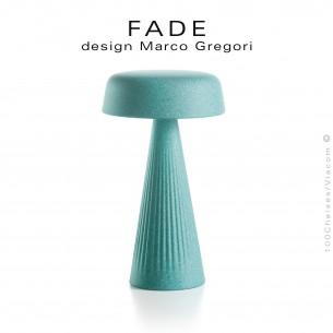 Lampe de table FADE, structure plastique nervurée couleur aigue-marine, éclairage d'ambiance par LED.