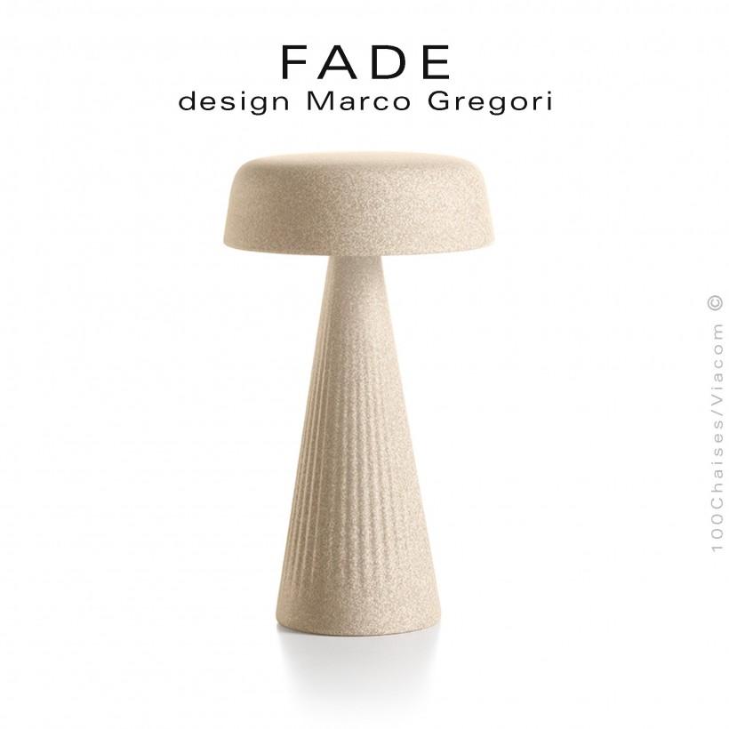 Lampe de table FADE, structure plastique nervurée couleur pierre, éclairage d'ambiance par LED.