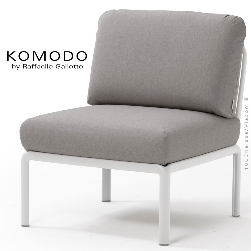 Élément central KOMODO, structure plastique blanc, avec coussin tissu gris.