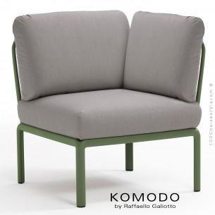 Élément d'angle KOMODO, structure plastique vert, avec coussin tissu gris.
