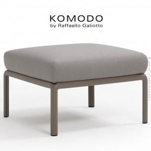 Élément pouf KOMODO, structure plastique gris tourterelle, avec coussin tissu gris.