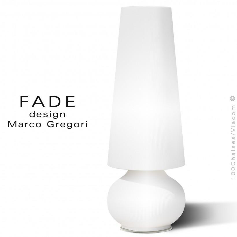 Maxi lampe lumineuse FADE, structure plastique nervurée couleur blanc-U1, éclairage par LED, avec platine de sol inox.