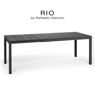 Table à manger RIO 140 noir, plateau rectangulaire extensible en plastique, 4 pieds en aluminium.