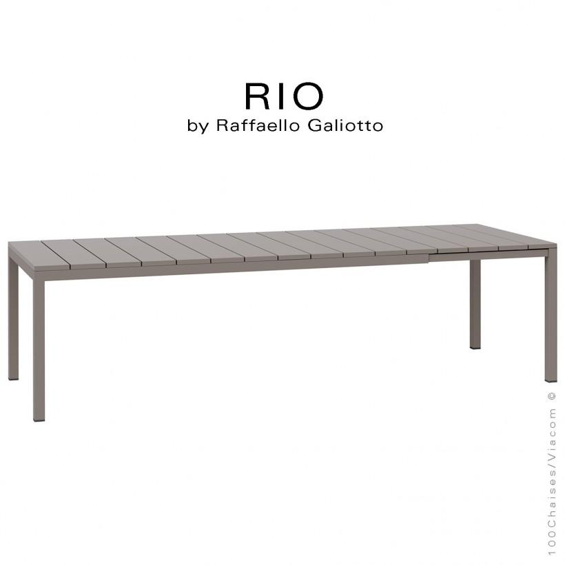Table à manger RIO 210 gris tourterelle, plateau rectangulaire extensible en plastique, 4 pieds en aluminium.