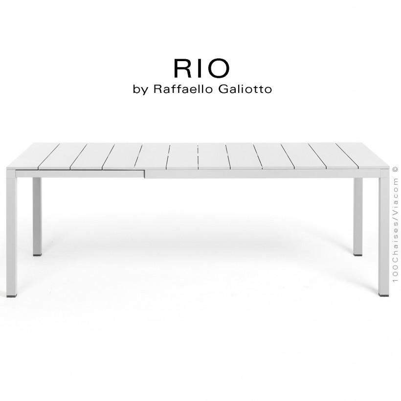 Table à manger RIO ALU 140 blanc, plateau rectangulaire extensible en aluminium, 4 pieds en aluminium.
