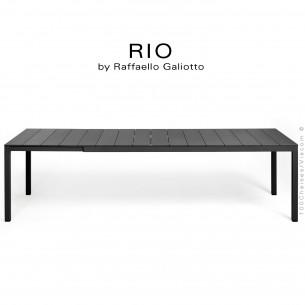 Table à manger RIO ALU 210 noir, plateau rectangulaire extensible en aluminium, 4 pieds en aluminium.