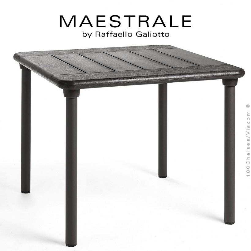Table à manger MAESTRALE 90, couleur anthracite, plateau carré en plastique, 4 pieds en aluminium.