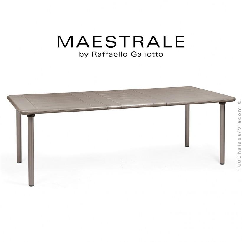 Table à manger MAESTRALE 220, plateau rectangulaire extensible en plastique, 4 pieds en aluminium. Couleur gris tourterelle.