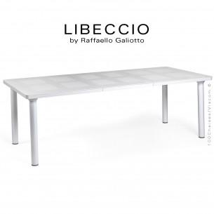 Table à manger LIBECCIO, plateau rectangulaire extensible, 4 pieds rond. Couleur blanc.