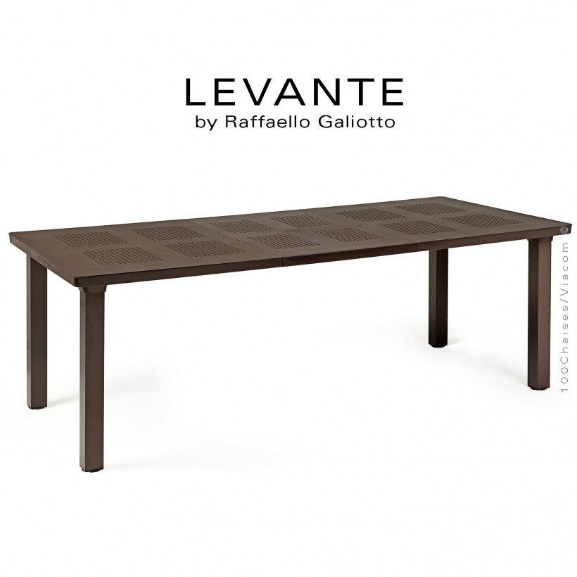 Table à manger LEVANTE, plateau rectangulaire extensible, 4 pieds carré. Couleur café.