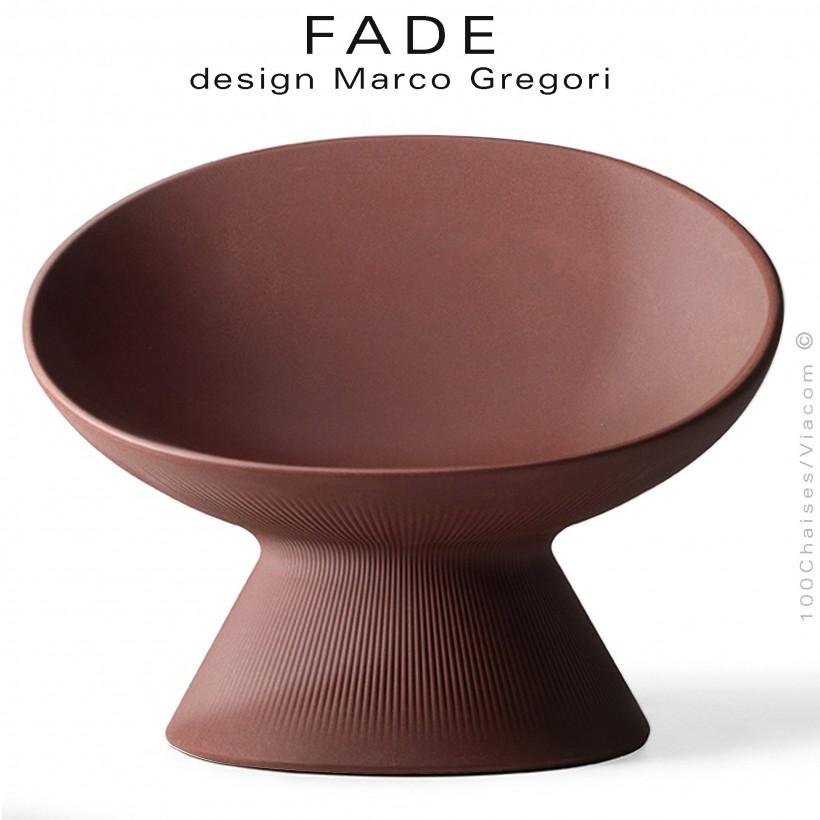 Fauteuil design lounge FADE, structure plastique couleur pierre de lave, pour terrasse en bord de mer ou à la montage.