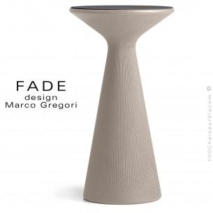 Table haute ou mange debout design FADE, structure plastique couleur pierre, plateau compact HPL noir.