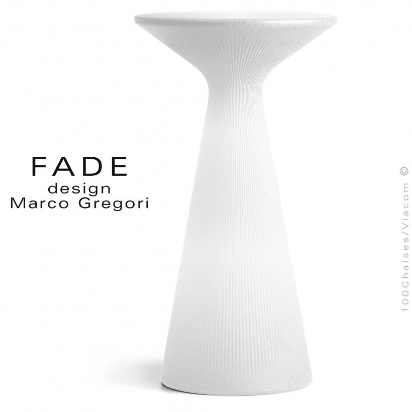 Table haute ou mange debout lumineux FADE, plastique blanc, kit LED-RVB d'extérieur avec commande Bluetooth sur batterie.