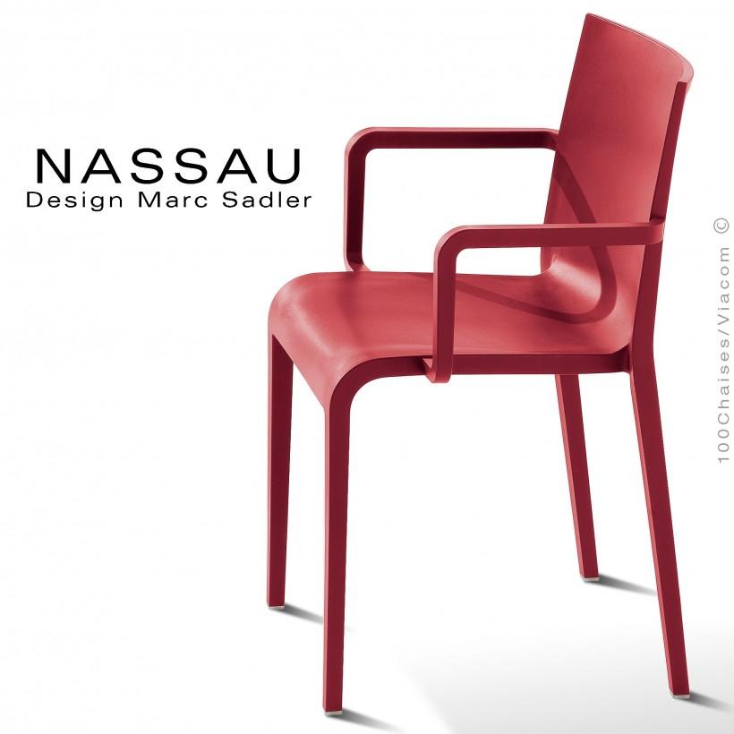 Fauteuil pour hôtel, restaurant, jardin NASSAU structure plastique couleur rouge Marsala