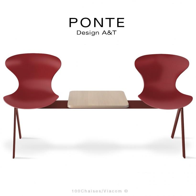 Banc PONTE 2 places, piétement acier rouge oxyde, coque plastique couleur rouge, tablette bois.