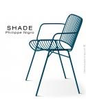 Fauteuil SHADE, structure 4 pieds en tube, assise et dossier en tige d'acier finition peinture bleu capri.