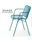 Fauteuil SHADE, structure 4 pieds en tube, assise et dossier en tige d'acier finition peinture bleu d'eau.
