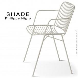 Fauteuil SHADE, structure 4 pieds en tube, assise et dossier en tige d'acier finition peinture blanc pur.