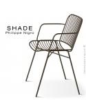 Fauteuil SHADE, structure 4 pieds en tube, assise et dossier en tige d'acier finition marron.