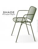 Fauteuil SHADE, structure 4 pieds en tube, assise et dossier en tige d'acier finition vert olive.