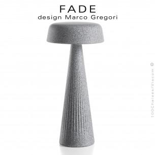 Lampe de table FADE-30, structure plastique nervurée couleur vieille pierre, éclairage d'ambiance par LED.