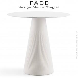 Table design FADE, piétement conique plastique blanc, plateau Ø70 cm., HPL blanc.