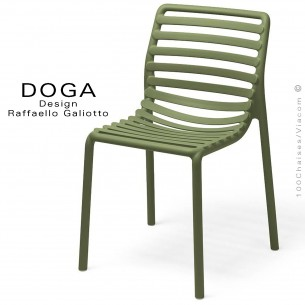 Chaise design DOGA, structure et assise plastique couleur vert Agave.