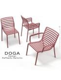 Collection DOGA, chaise bistrot, fauteuil avec accoudoirs, fauteuil lounge et table.