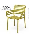 Fauteuil design DOGA, structure, assise plastique monobloc couleur jaune d'Or.