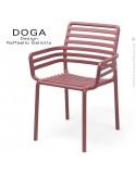 Fauteuil design DOGA, structure, assise plastique monobloc couleur rouge Marsala.