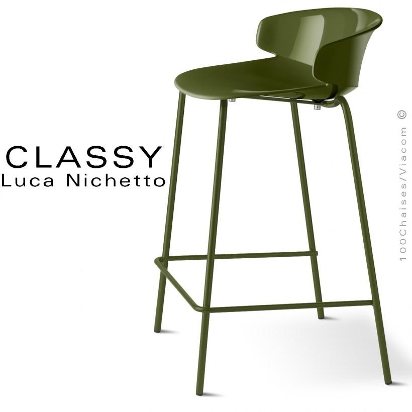 Tabouret de cuisine CLASSY, piétement peint vert olive, assise coque plastique couleur vert olive.