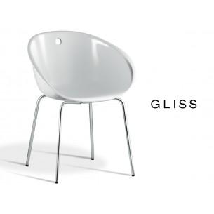 GLISS chaise design coque de couleur blanche, structure en tube d'acier Ø16 mm, finition chromé.