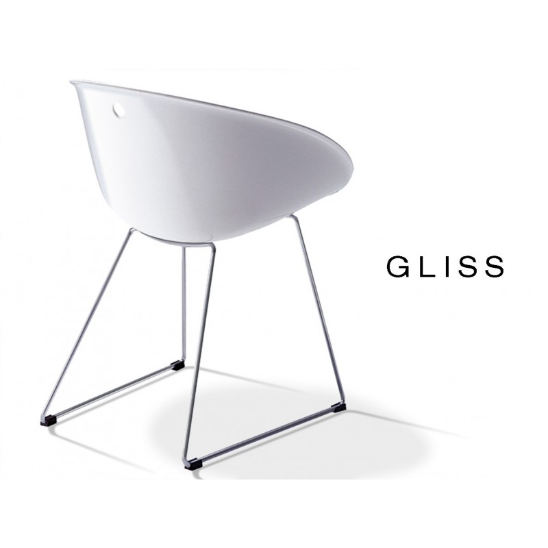 GLISS chaise design coque blanche, pied luge (lot de 6 chaises).