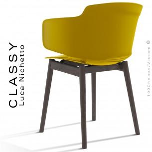 Fauteuil design CLASSY, piétement bois de Frêne vernis noir, assise coque plastique couleur jaune curry.