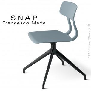 Chaise de bureau design SNAP, piétement aluminium noir, assise pivotante coque plastique gris petit gris.