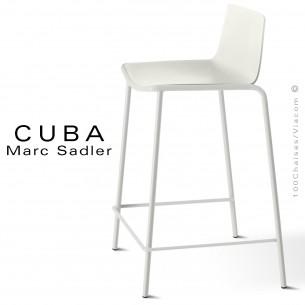 Tabouret de cuisine design CUBA, assise coque plastique couleur blanc pur, structure acier peint blanc pur.