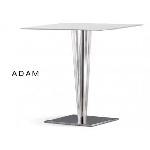 Table ADAM colonne conique plastique transparent, plateau blanc 80x80 cm (lot de 6 tables).