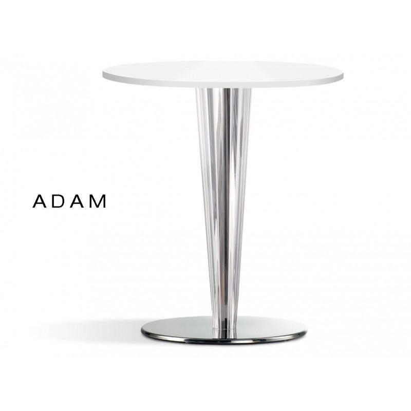 Table ronde ADAM colonne conique plastique transparent, plateau blanc (lot de 6 tables)