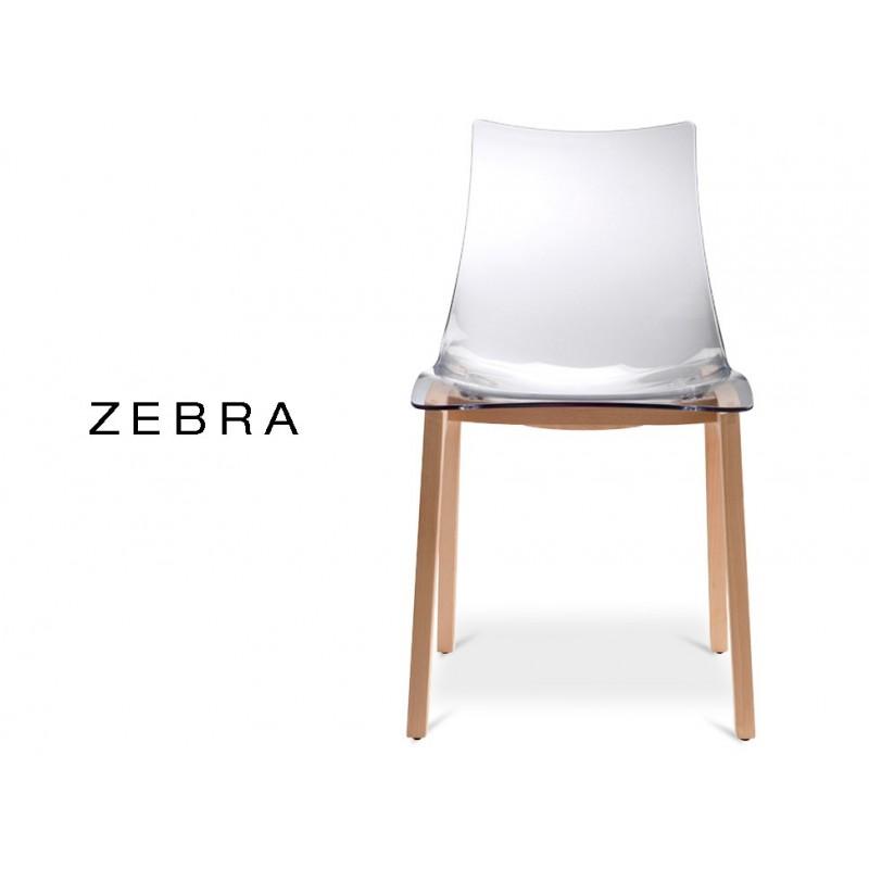ZEBRA Chaise Design Assise Polycarbonate Fume Structure Bois De Hetre Naturel Lot