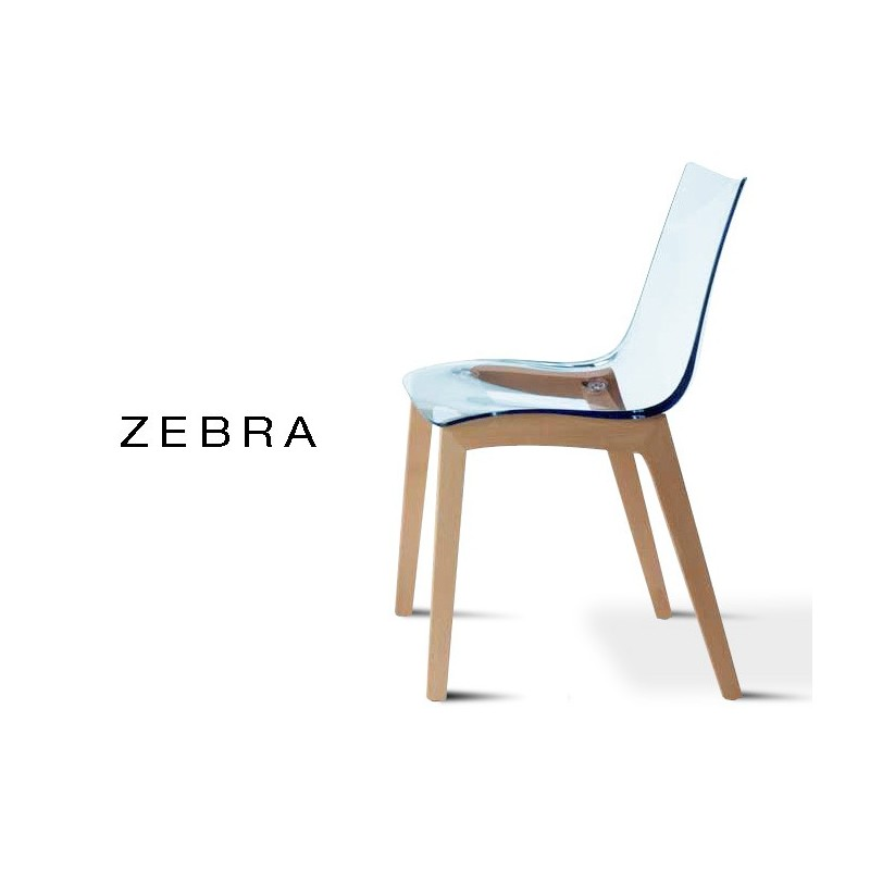ZEBRA Chaise Design Assise Polycarbonate Transparent Structure Bois De Hetre Naturel Lot