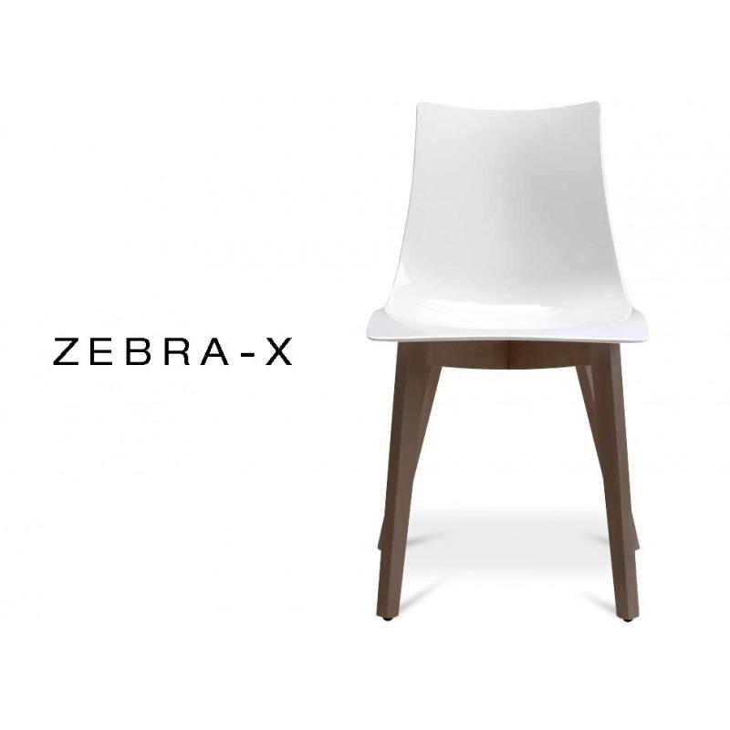 ZEBRA X Chaise Design Coque Opaque Brillant Gris Pied En Bois De Hetre Finition