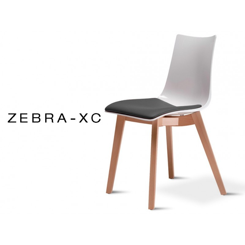 ZEBRA-XC chaise design coque opaque assise capitonnée aspect cuir noir, piétement hêtre naturel (lot de 6 chaises).