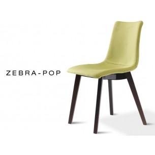 ZEBRA-POP chaise design capitonnée tissu, couleur vert, piétement en bois de hêtre couleur wengé.