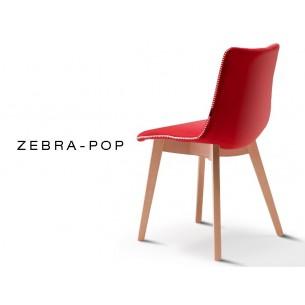 ZEBRA-POP chaise design capitonnée laine, couleur rouge, piétement en bois de hêtre naturel (lot de 6 chaises).