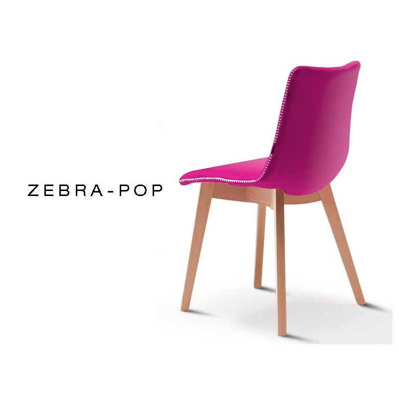 ZEBRA POP Chaise Design Capitonnee Laine Couleur Fuchsia Pietement En Bois De Hetre