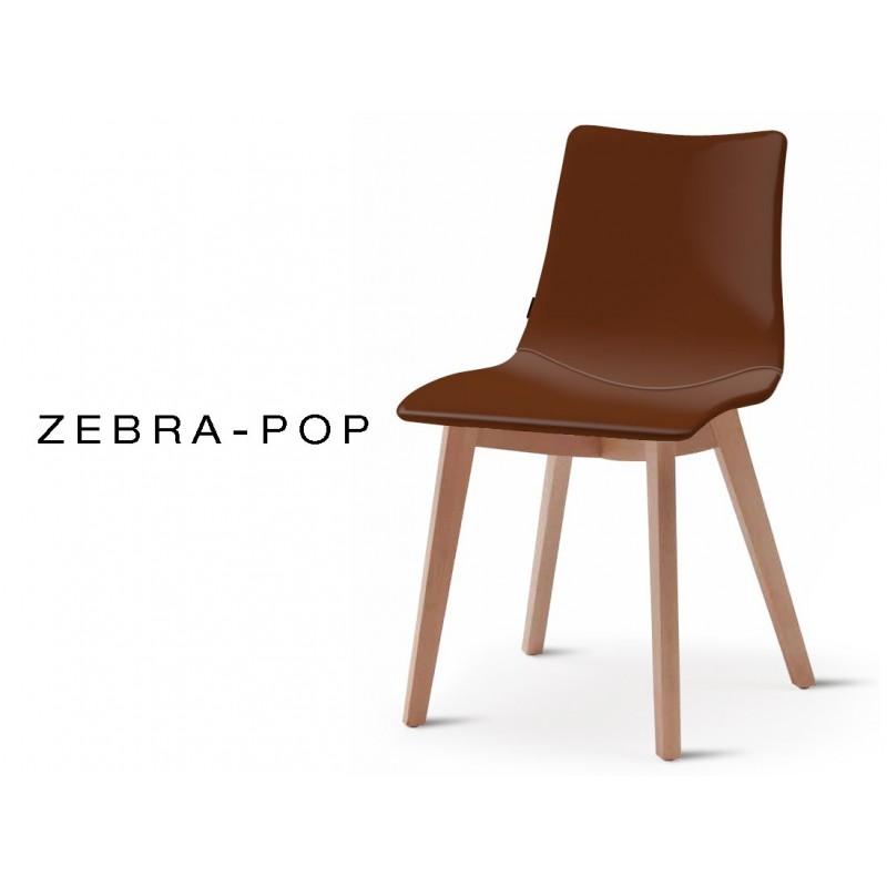 ZEBRA POP Chaise Design Capitonnee Simili Cuir Marron Pietement Bois De Hetre Naturel