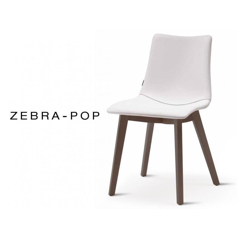 ZEBRA POP Chaise Design Capitonnee Simili Cuir Blanc Pietement Bois De Hetre Wenge