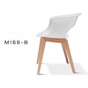 MISS-B chaise design coque blanc et bois de hêtre naturel.