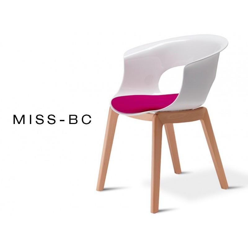 MISS-BC chaise coque et bois de hêtre naturel, assise capitonnée améthyse (lot de 6 chaises).
