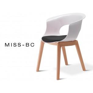 MISS-BC chaise assise capitonnée tissé noir, piétement en bois de hêtre naturel (lot de 6 chaises).
